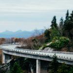 Winding highway through mountains