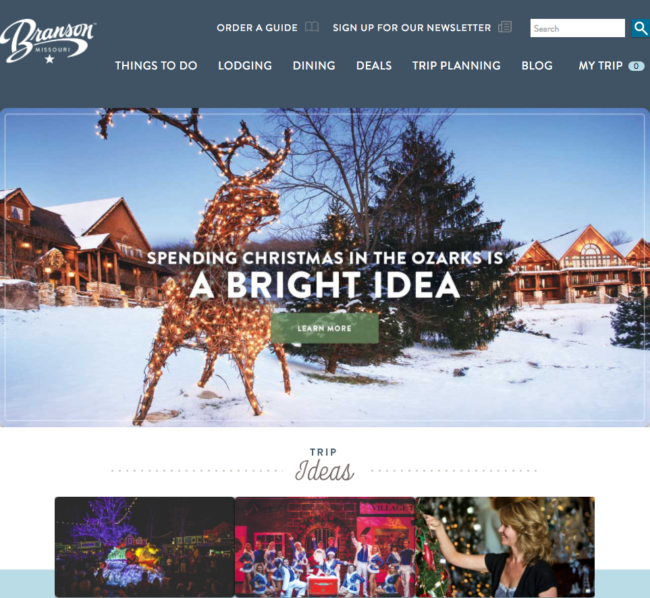 Small Destinations Doing Big Things with Visuals branson-homepage