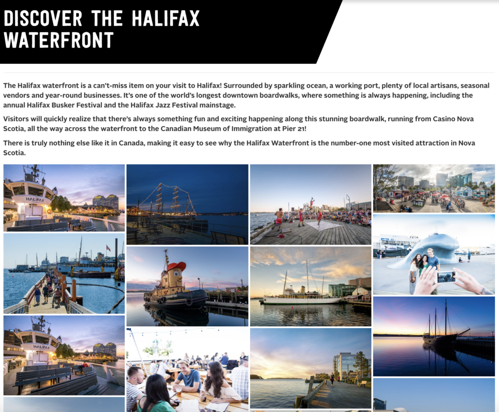 Discover the Halifax waterfront webpage with UGC photo gallery