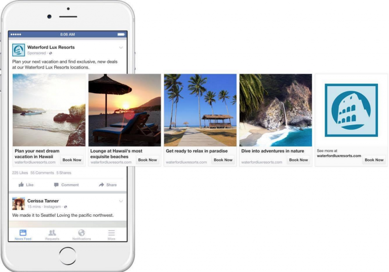 Facebook Trip Consideration example