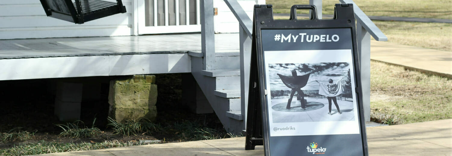 Tupelo A-Frame outside of shop with #MyTupelo