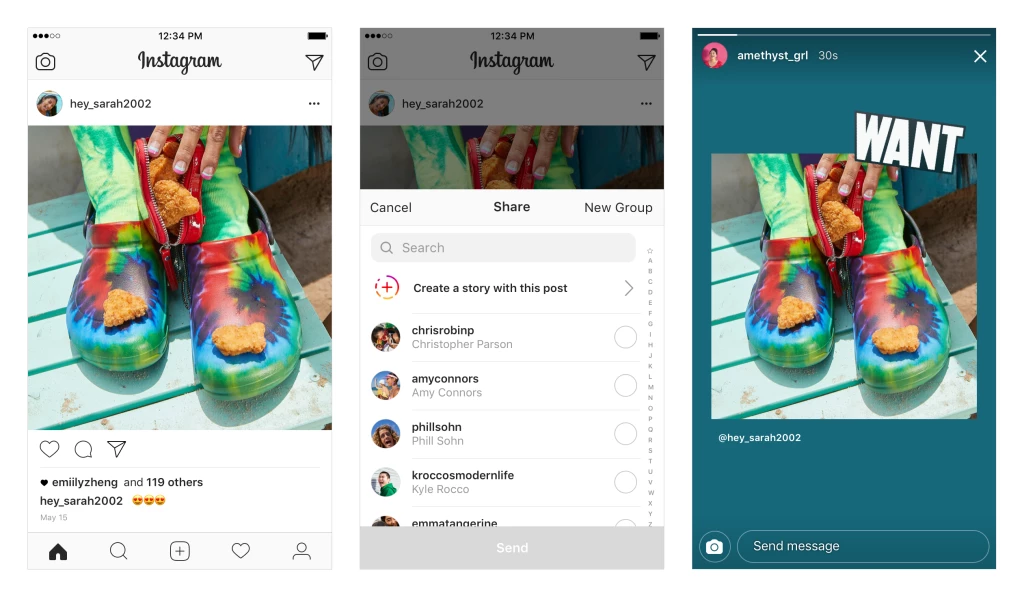 Instagram stories share feed posts