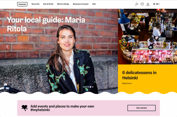 "Helsinki website screenshot - ""Your local guide: Maria Ritola"""
