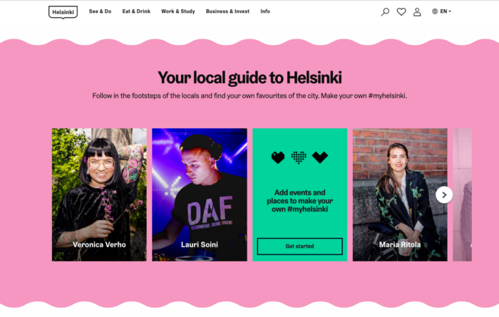 "Helsinki website screenshot ""Your local guide to Helsinki"""