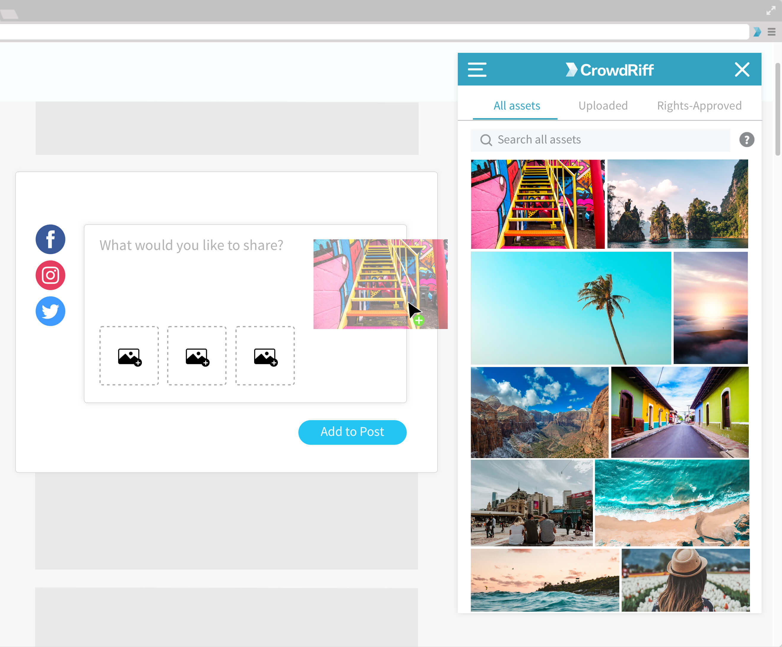 CrowdRiff Sidekick image - a screenshots mockup showing colourful photos in a Chrome extension with one image being dragged into a social tool