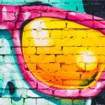 Close up graffiti wall