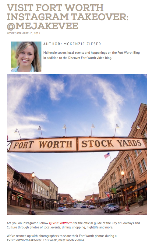 Influencer marketing campaign at Visit Fort Worth