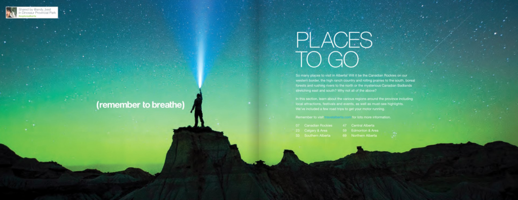 Pages from Travel Alberta Visitor Guide