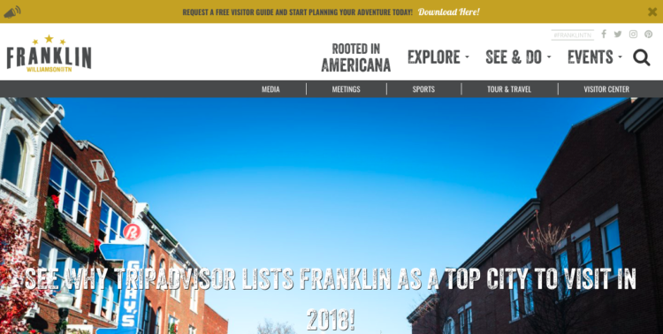 Visit Franklin visitor guide cta tourism marketing strategy