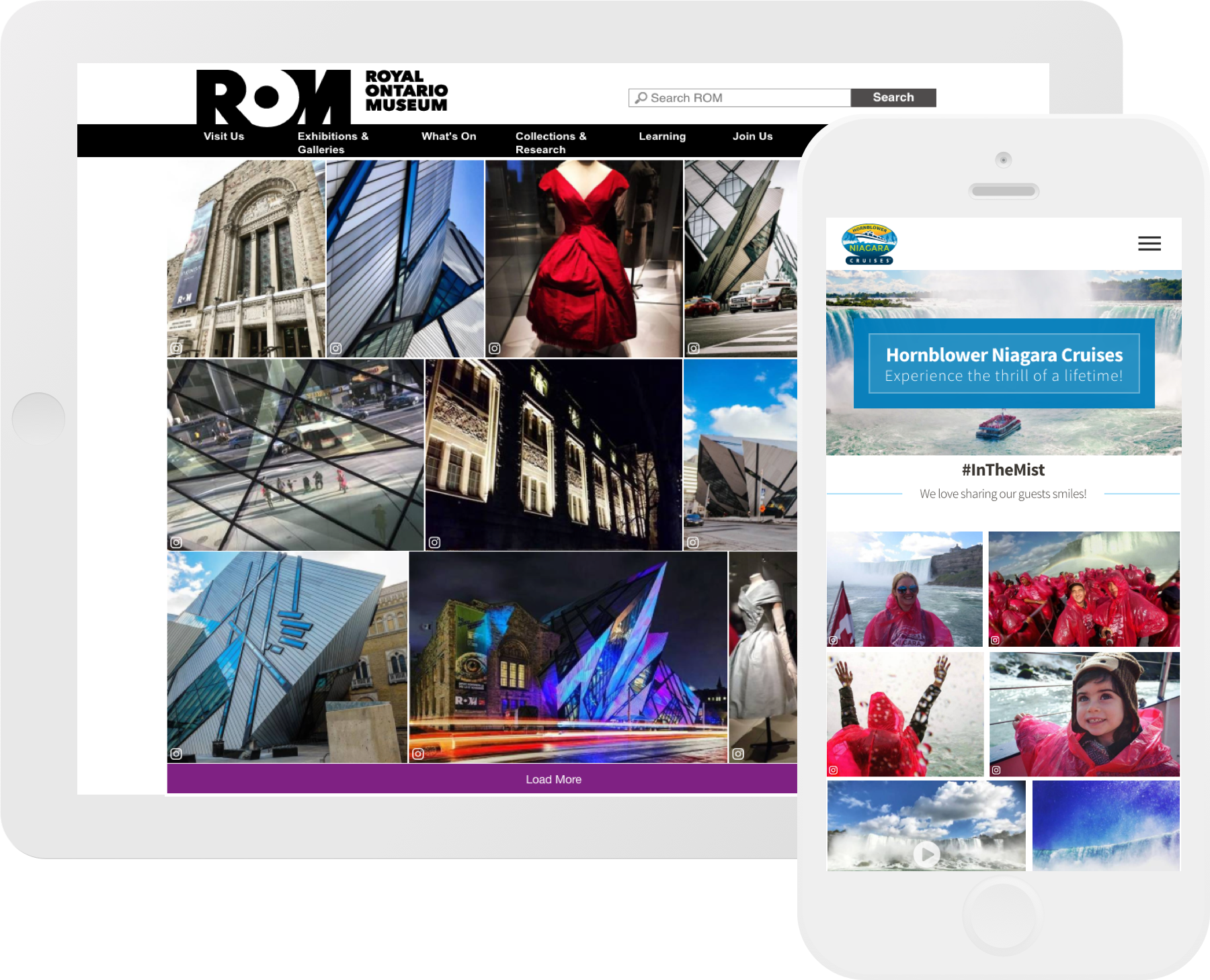 CrowdRiff responsive galleries on ROM website and Hornblower Niagara Cruises website