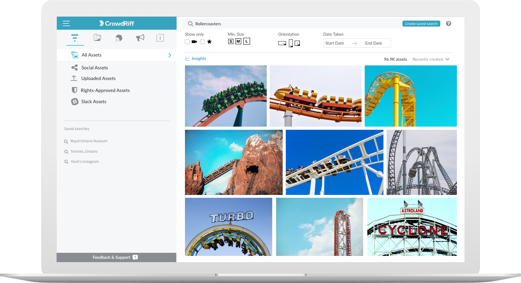 CrowdRiff platform showing image results of Rollercoaster search