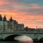 Bridge in Paris, France at sunset