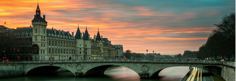 Bridge in Paris, France at sunset