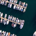 Overhead shot of boats in a full marina