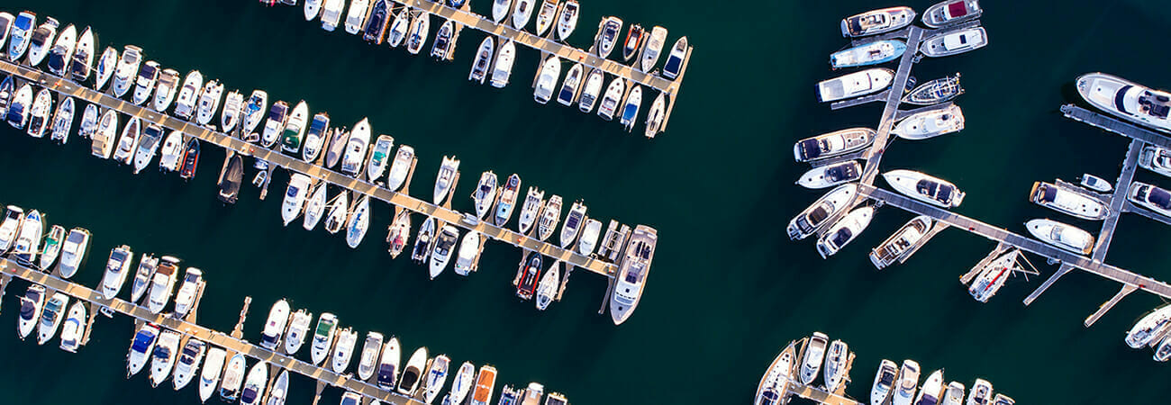Overhead shot of boats in a full marina