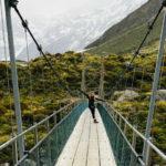 Courtney on bridge, New Zealand