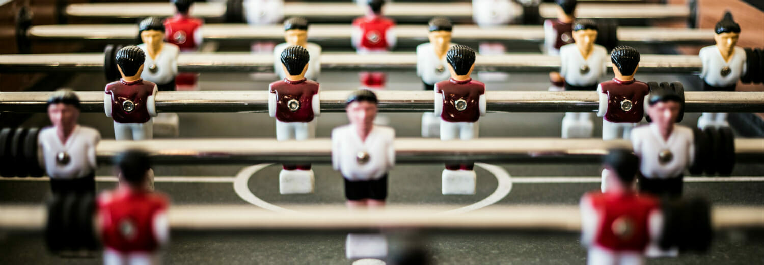 Closeup shot of foosball table