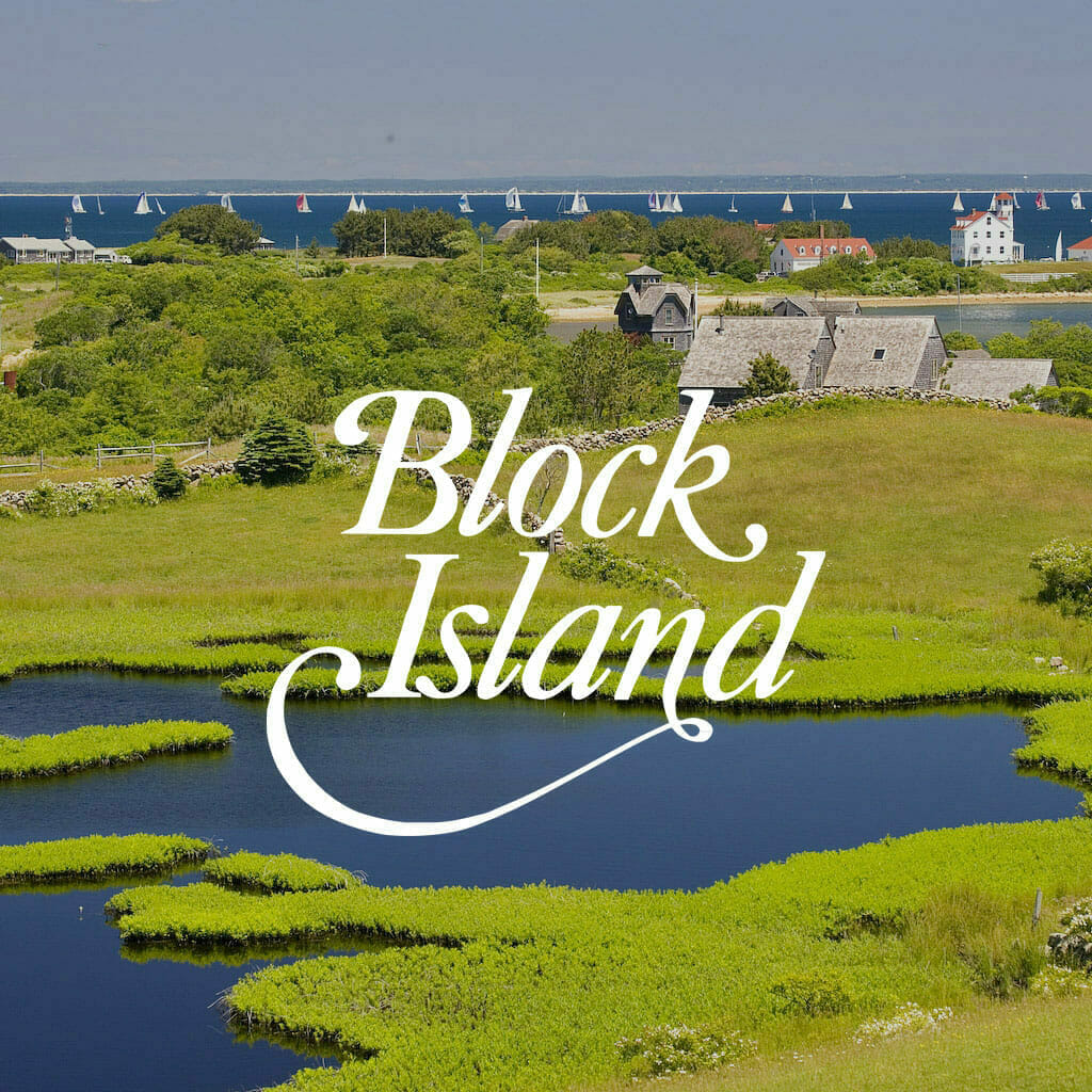 View of Block Island with the logo over top