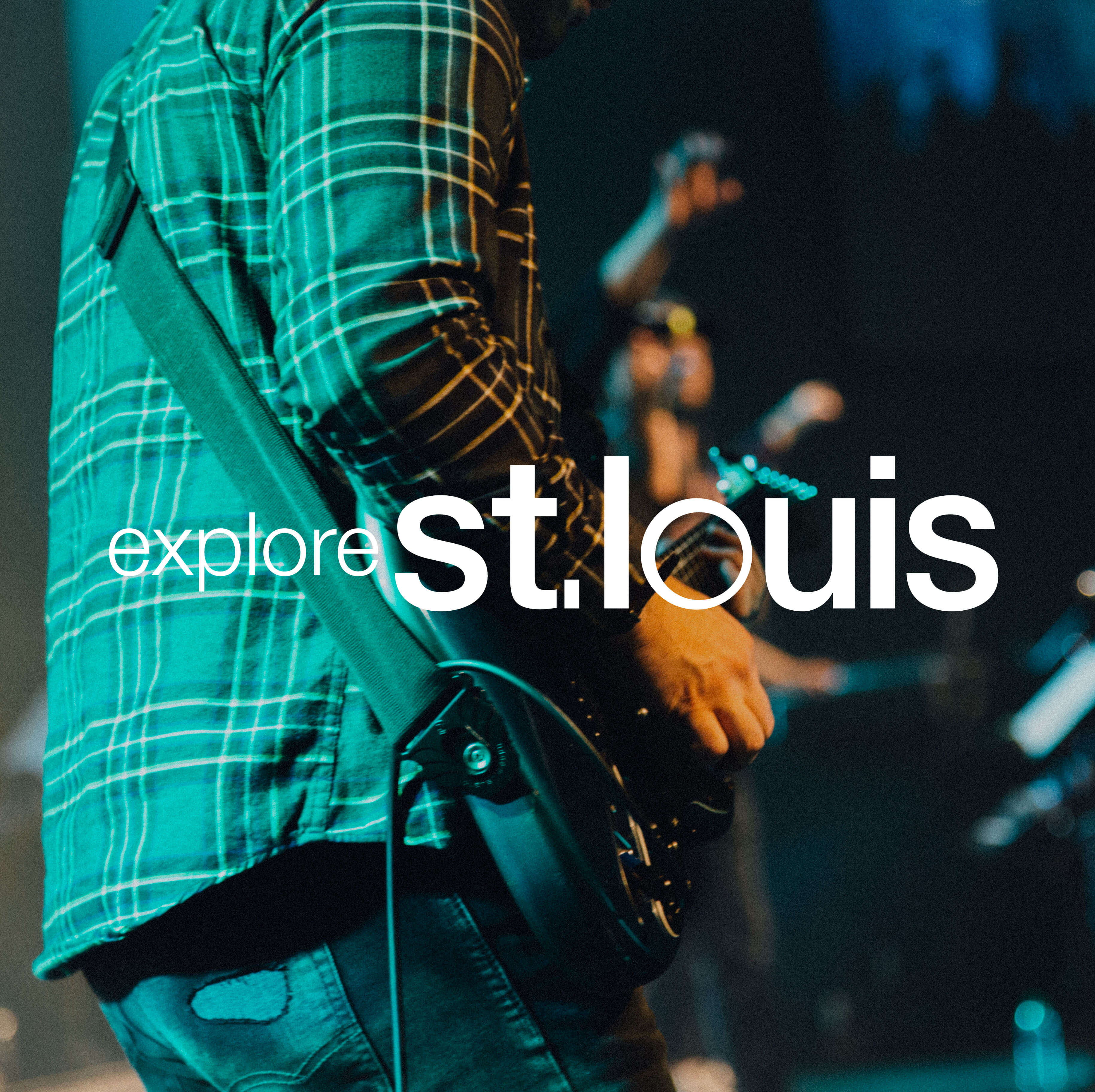 Close up shot of band member playing guitar in St. Louis, with logo over top