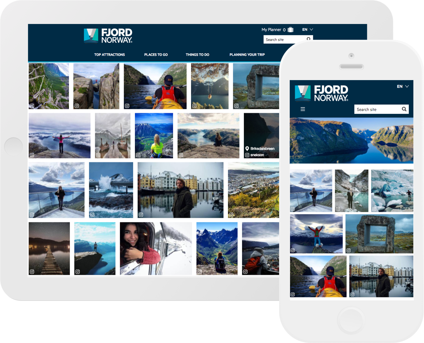 Ipad and Iphone displays showing CrowdRiff responsive galleries on the Fjord, Norway website