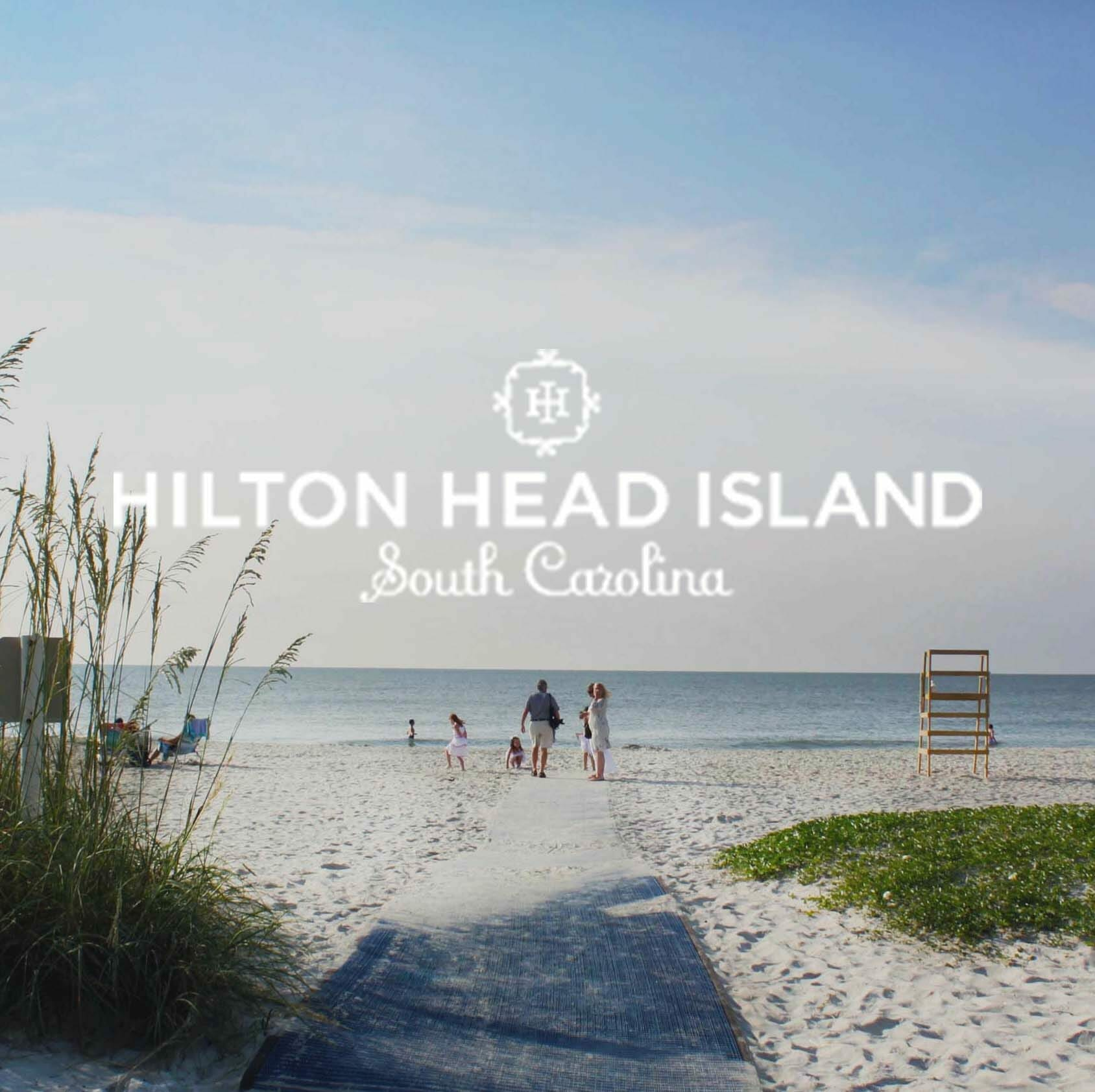 View of beach in Hilton Head Island with logo over top