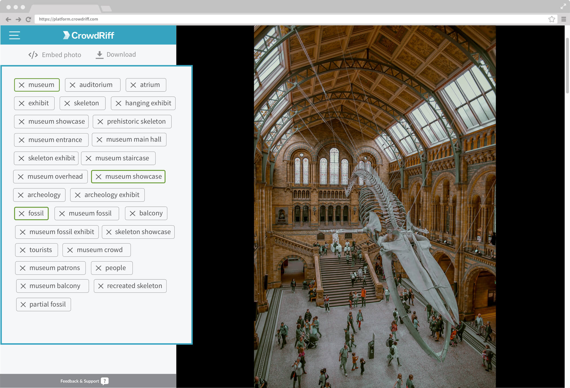 Auto key-wording of image of museum exhibit