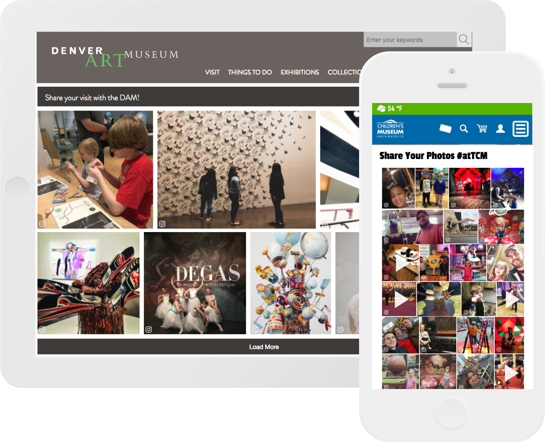 CrowdRiff galleries on Denver Art Museum website and Children's Museum website, shown on Ipad and Iphone