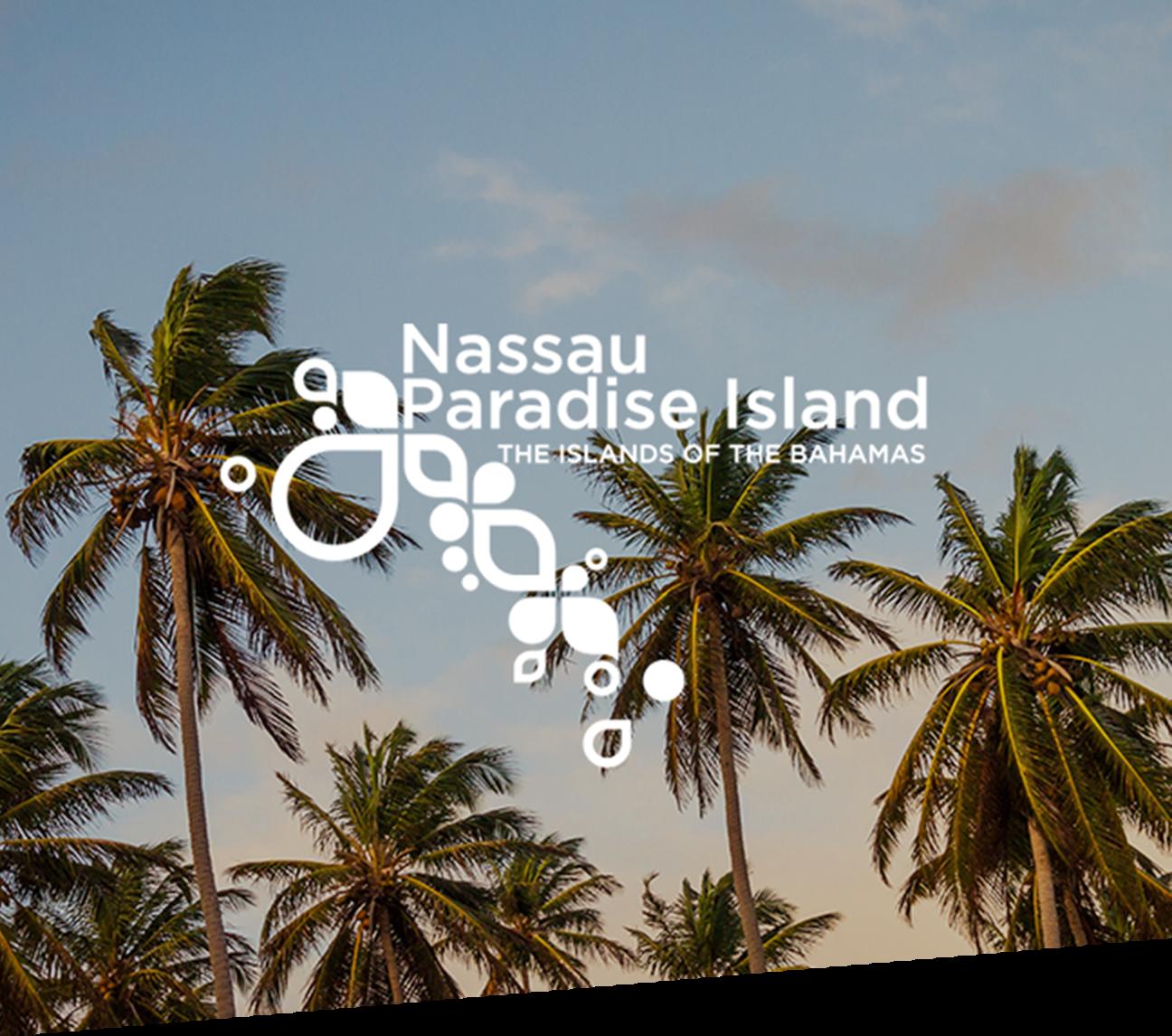 Palm trees with Nassau Paradise Island logo