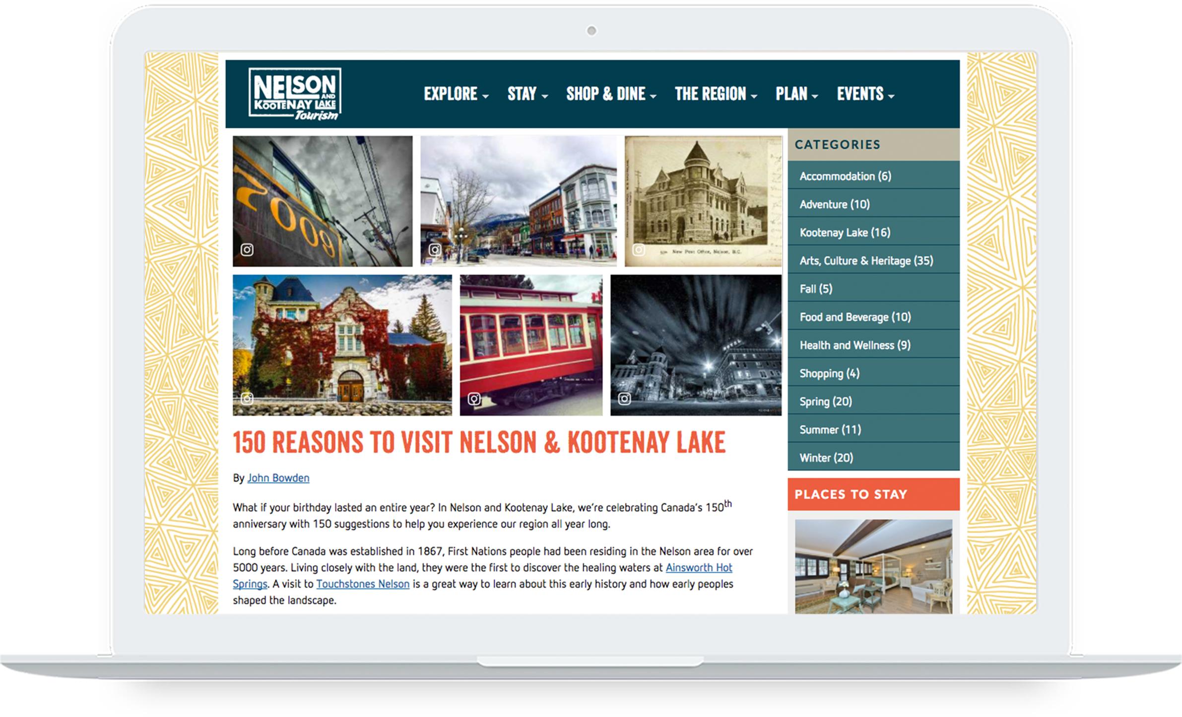 Screenshot of Nelson and Kootenay Lake Tourism's website