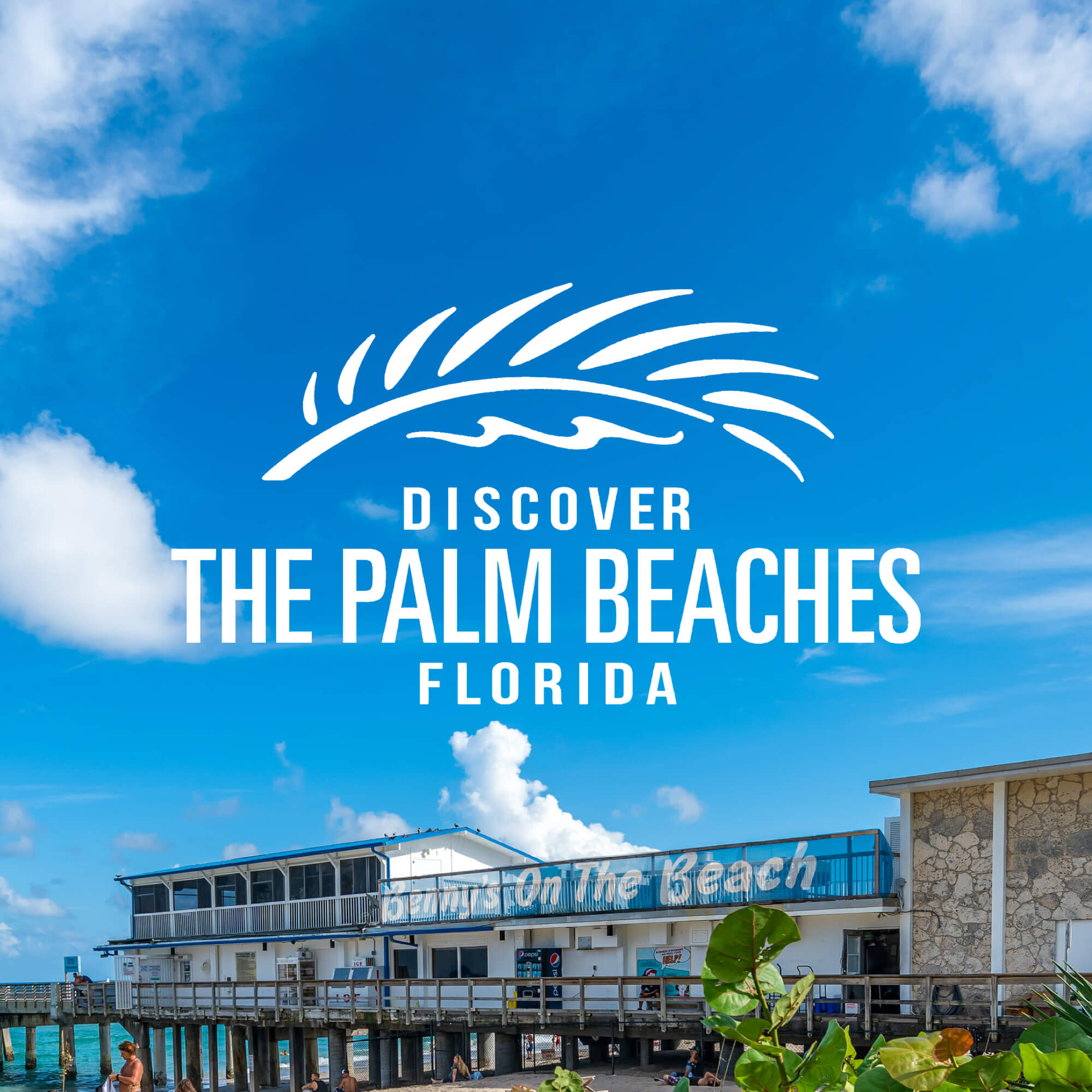Palm Beach Boardwalk with Discover The Palm Beaches logo overlayed