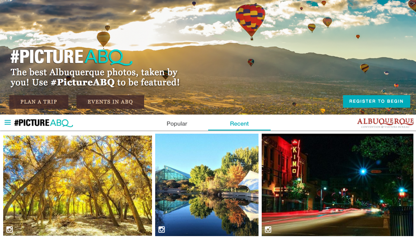 picture abq landing page