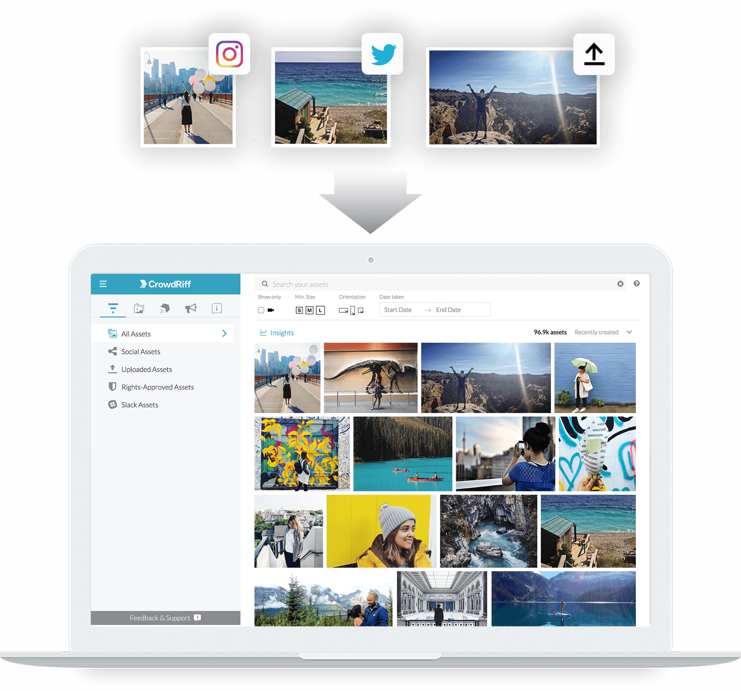 Screen showing CrowdRiff platform as a home for all your visuals