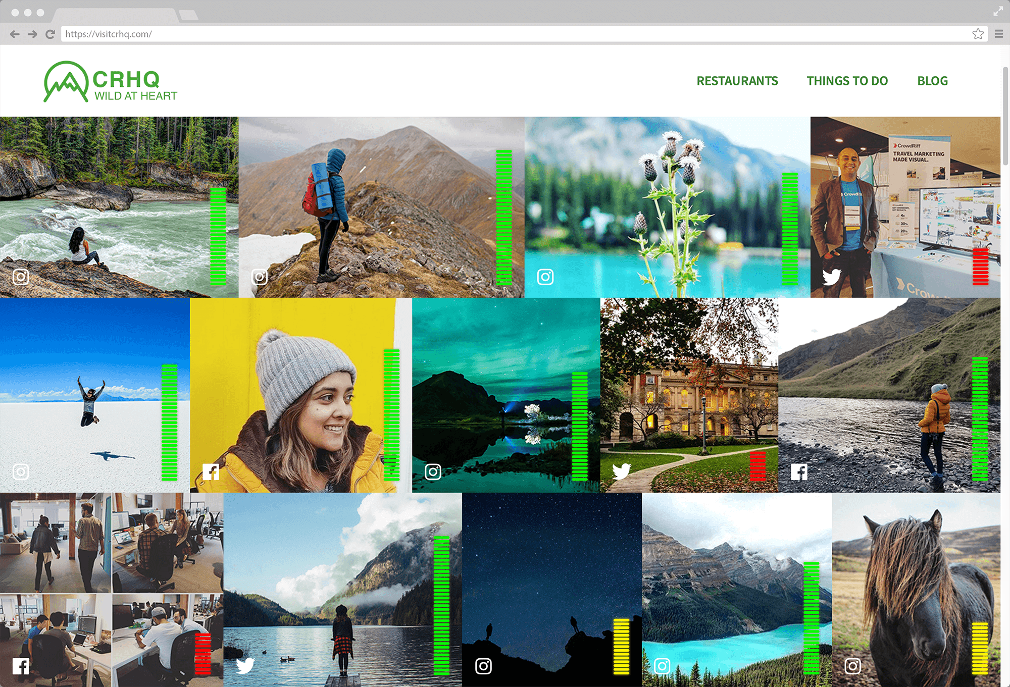 Browser screen showing CrowdRiff self-optimizing galleries