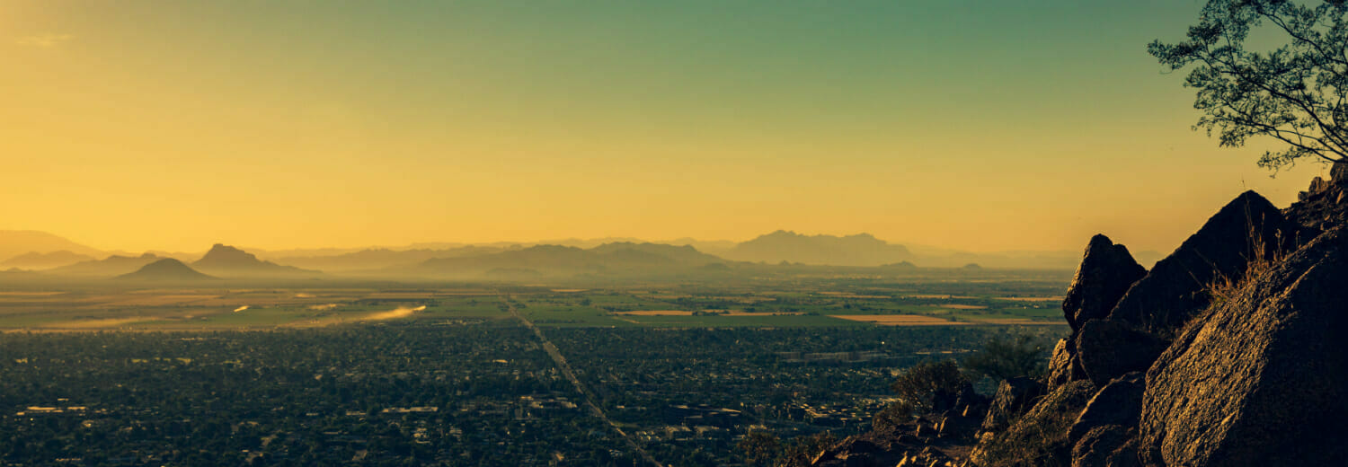 Landscape of Phoenix at sunset